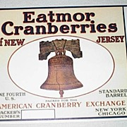 An original Early 20th Century New Jersey Liberty Bell Cranberry Label