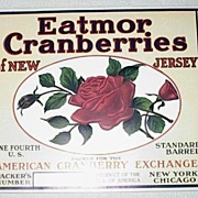 An original Early 20th Century New Jersey American Beauty Eatmor Cranberry Barrel Label