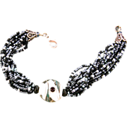 Black, Gray and White Seed Bead Bracelet