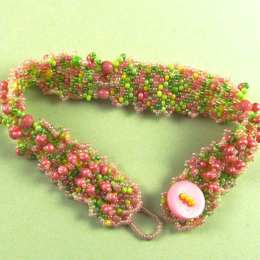 Pink and Green Seed Bead Bracelet