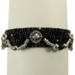 Black Bracelet With Pewter Suns