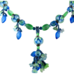 Blue and Green Lampworked Bead Necklace With Flowers