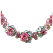 Pink Floral Lampworked Beaded Necklace
