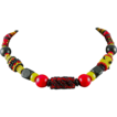 Red, Black and Yellow Handmade Seed Bead Necklace
