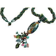 Green, Pink and Blue Handmade Necklace with Lampwork