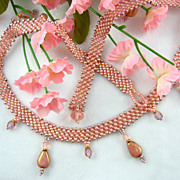 Antique-Rose-Colored Seed Bead Necklace