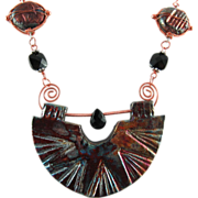 SALE Handmade Raku and Copper Necklace