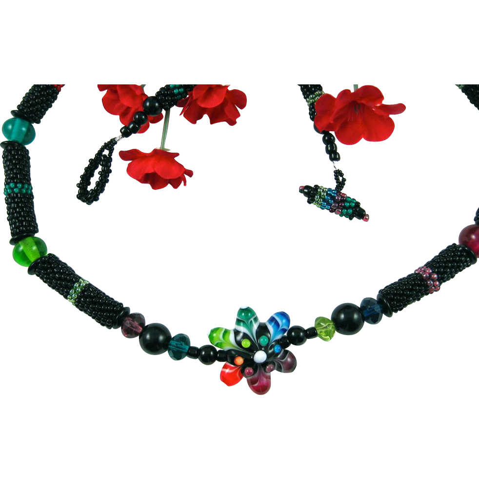Lampworked Star Flower and Seed Bead Necklace