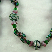 SALE Green and Lavender Seed Bead Necklace