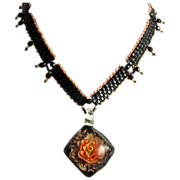 Tangerine Rose Beaded Necklace