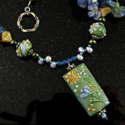 Flowered Lampwork Beaded Necklace
