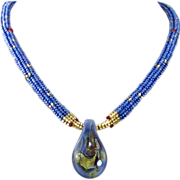 "Blue Glass ""Spoon"" Necklace"
