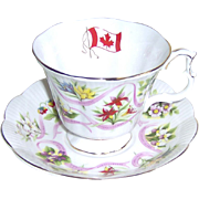SALE Royal Albert Cup & Saucer -Canada Our Emblems Dear