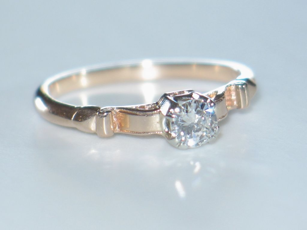 Diamond Engagement Ring Antique Rose Gold & Diamond Solitaire from shor