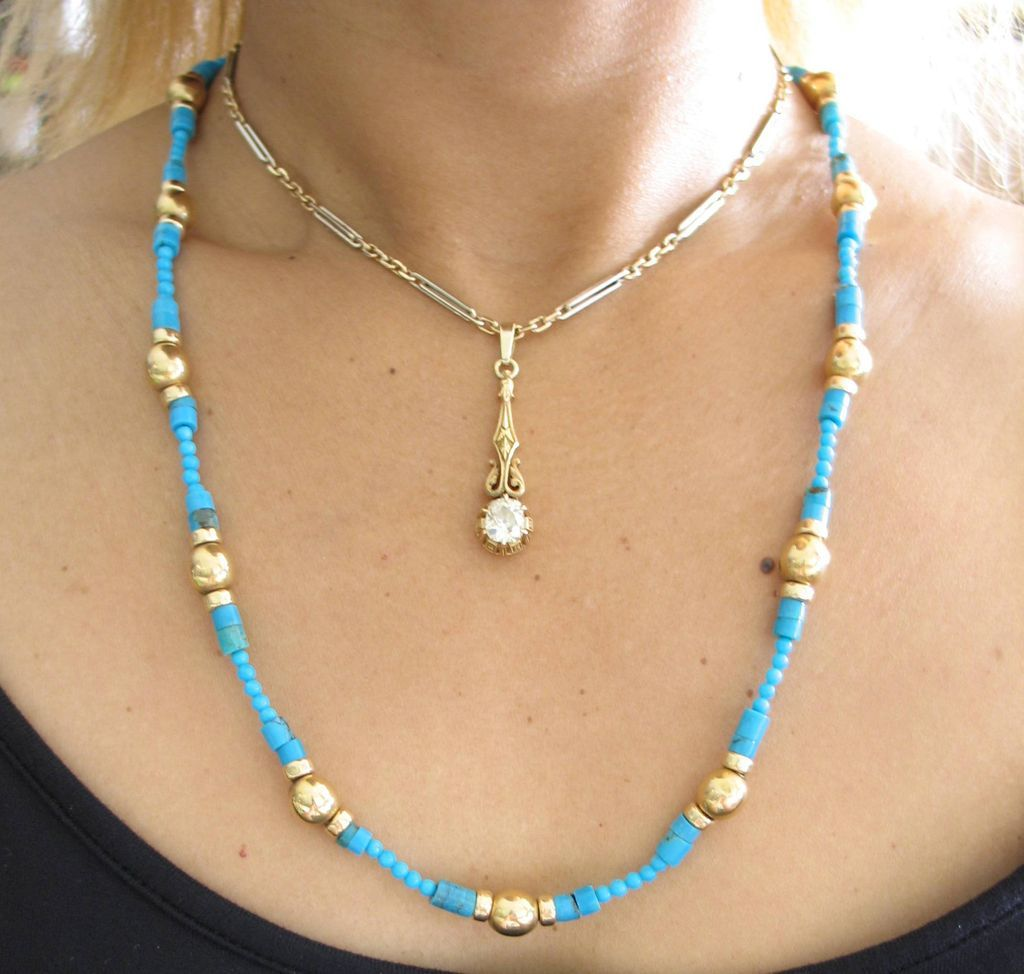 beautiful turquoise and 14k yellow gold necklace