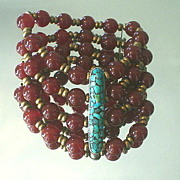 SOLD Tibetan Inlaid Turquoise and Carnelian Multi Strand Bracelet