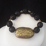 Tibetan Repousse Brass and Carved Resin Bracelet