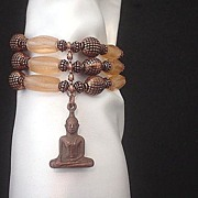 Buddha and Peach Recycled Glass Copper Bracelet