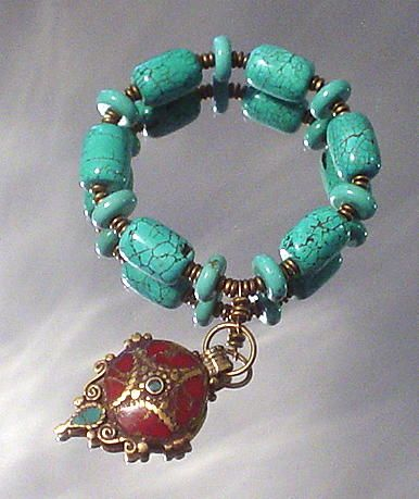 Tibetan Inlaid Coral and Turquoise Charm Bracelet