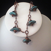 Blue Porcelain Copper Bracelet