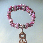 Pink Jade and Rhodonite Copper Key Bracelet