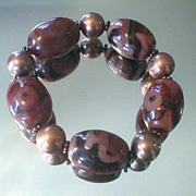Agate Dzi and Copper Bracelet