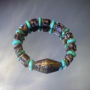 Tibetan Repousse and Outlook Jasper Turquoise Bracelet
