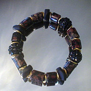 Red Snowflake Obsidian and Beach Glass Bracelet