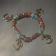 OM and African Trade Bead Turquoise Bracelet