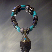 Tibetan Resin with Jasper and Turquoise Bracelet