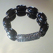 Black Onyx and Hematite Studded Bracelet