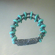 Turquoise and Hematite Studded Bracelet