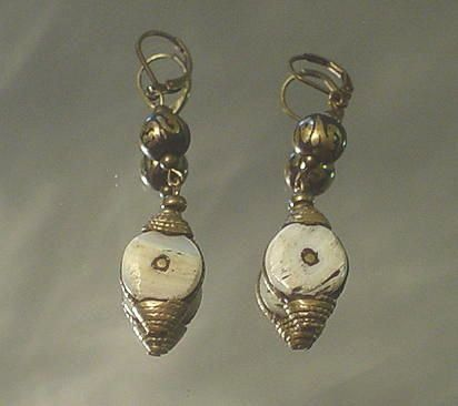 Tibetan OM Prayer Bead and Conch Shell Earrings