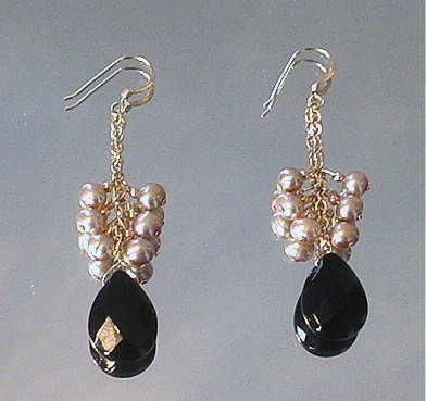 Black Onyx and Cultured Freshwater Pearl 14kt GF Earrings