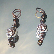 Vintage Roman Head Bronze Earrings