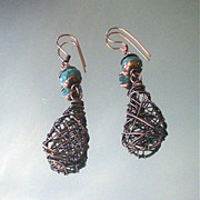 Fancy Jasper Copper Basketweave Drop Earrings