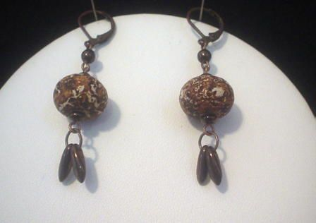 Agate Bronze Earrings
