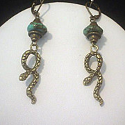 SOLD Turquoise Snake Earrings