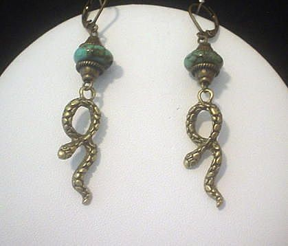 Turquoise Snake Earrings