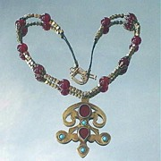 Turkoman Carnelian and Turquoise Brass Necklace