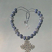 Ethiopian Coptic Cross Blue Coral Sterling Necklace