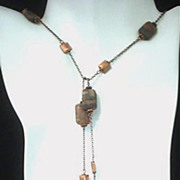 Riverstone Copper Donut Lariat Necklace