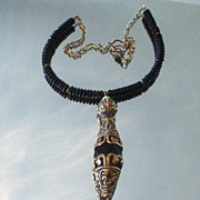 Black Onyx Tibetan Repousse Necklace