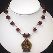 Goddess Lakshmi and Carnelian Necklace
