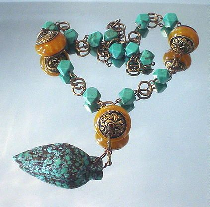Tibetan Copal and Turquoise Necklace