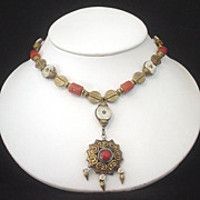 Tibetan Coral, Conch and Baoule Trade Bead Necklace