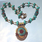 Tibetan Inlaid Coral and Turquoise Shield Necklace