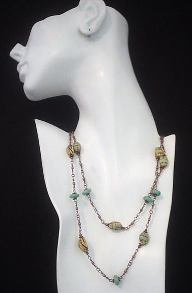 Egyptian Scarab and Turquoise Copper Eternity Necklace