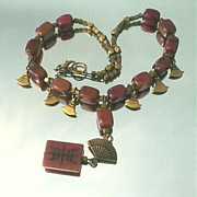 Soo Chow Jade and Brass Conch Necklace