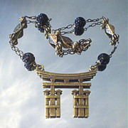 Carved Black Onyx and Pagoda Necklace
